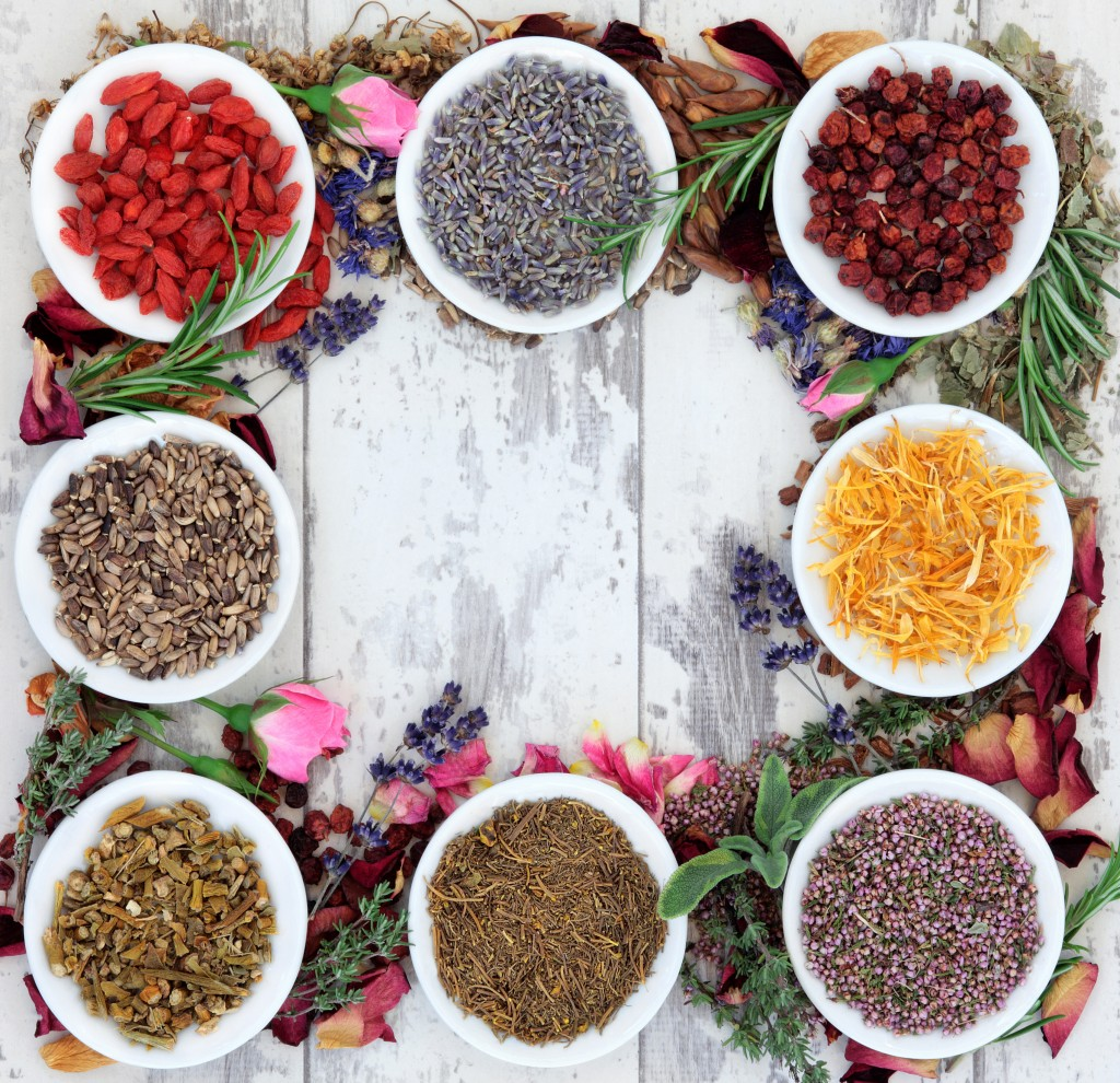 Herbal medicine selection also used in witches magical potions over distressed wooden  background.