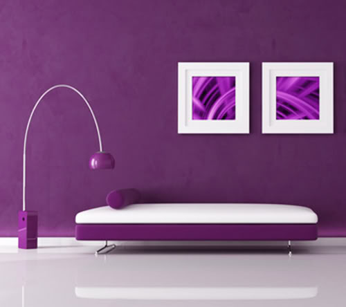 purple minimal interior with velvet sofa and lamp, the image on wall are my abstract composition